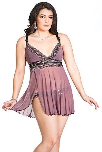 Coquette Women's Plus-Size Diva Plus Size Mesh Babydoll with Metallic Lace
