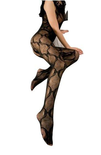 WIIPU Sexy Women Lace Full Body Open Crotch FishNet Pantyhose Stockings(WIIPU-LN138)