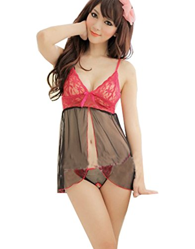 ANDI ROSE Sexy Lingerie Night Sleepwear Lace Babydoll Dress + Stockings