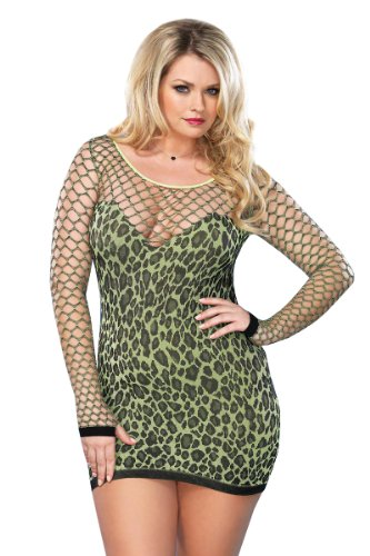 Leg Avenue Women's Plus-Size Seamless Leopard Mini Dress