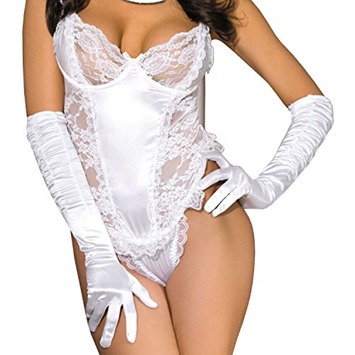 Womens Sexy Bodysuit One Piece Voile Lace Nightdress Corset Teddy Lingerie