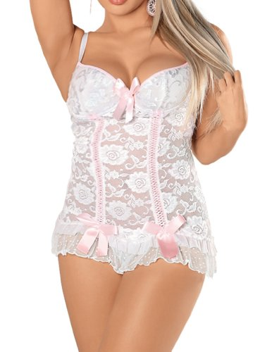 Escante Women's Plus-Size Plus Size Stretch Lace Chemise