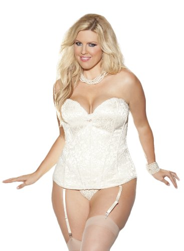 Shirley of Hollywood Women's Plus Size Tapestry Gartered Corset G-String