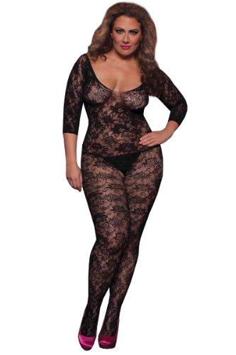 Seven Til Midnight Women's Plus-Size Crochet Floral Lace Body Stocking Plus