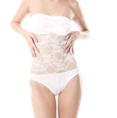 TRURENDI Sexy Women's White corset lace one-pieces Jumpsuit (White)