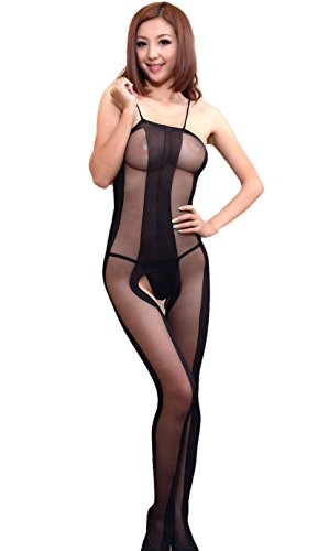 DAYAN Women Sexy Teddy Bodysuit Strap Up Breast-Out One-Pieces Lingerie Crotchless Style