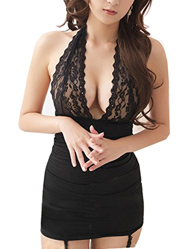 ANDI ROSE Women Sexy Lingerie Clubwear Mini Dress + G-Strings + Stockings