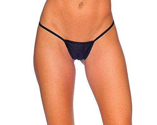 Cover Strap G-String Thong Panties. Black. One Size. Made in USA.