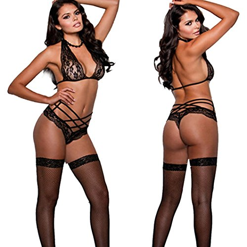 DZT1968(TM)Women Black Sexy lingerie Uniform Temptation Pajamas Three Point Harness