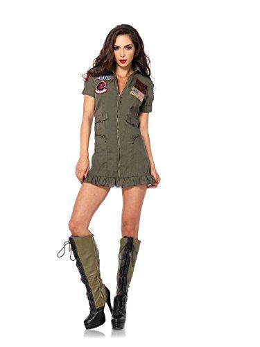 Leg Avenue Women's 2 Piece Top Gun Flight Zipper Front Dress