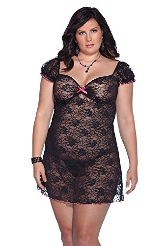 Coquette Women's Plus-Size Kissable Queen Sized Stretch Floral Lace Dress