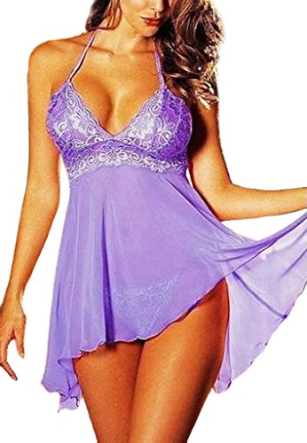 VLUNT Women's Sexy Lingerie Lace Halter Night Sleepwear Lace Babydoll Mini Dress