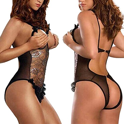 FUNOC Black Lace Sexy Women Lingerie Bra G-String Nightwear