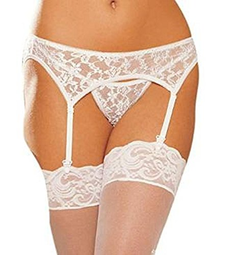 Shirley of Hollywood Garterbelt and G-String Set. White. One Size Plus.