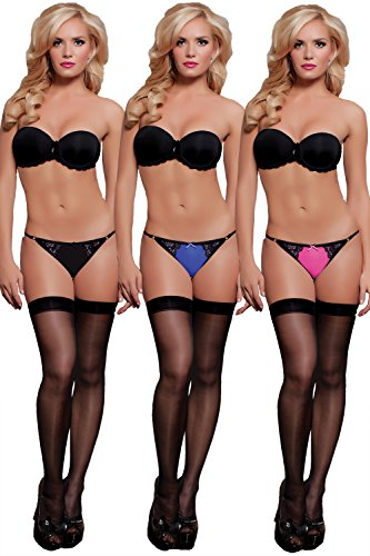 Seven Til Midnight Women's Lace and Mesh Panty 3 Pack Pink Black Blue