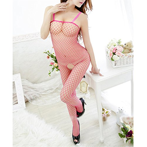 Hot Pink Lady's Sexy Open Crotch Halter Sleeveless Fishnet Body Stockings Jumpsuits
