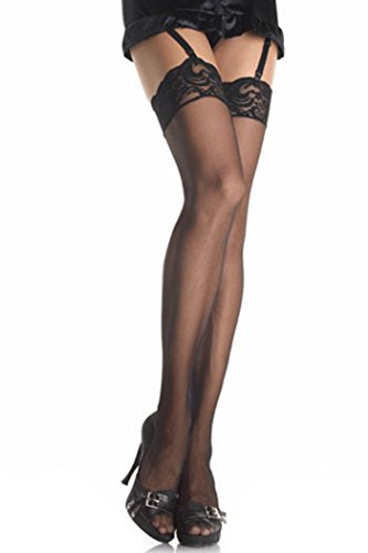 Leg Avenue 1011Q Sheer Thigh with Lace Top. Black. One Size Plus.