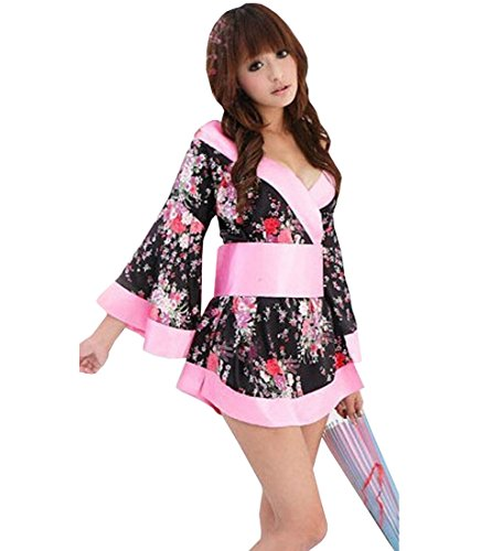 Womens Bodycon Back Bow Floral V-neck Kimono Mini Dress Costum Sexy Lingerie