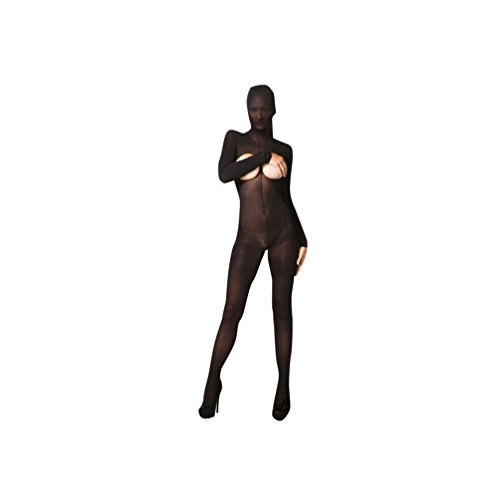 Hooded Cupless Bodystocking W/crotchless Open Back,back Snap-ki4011