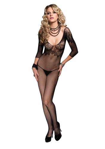 Leg Avenue Women's Fishnet Quarter Sleeve Bodystocking With Floral Lace Bodice