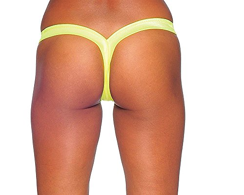 Sexy Neon Yellow V Thong Panties. Yellow. One Size. Made in USA.