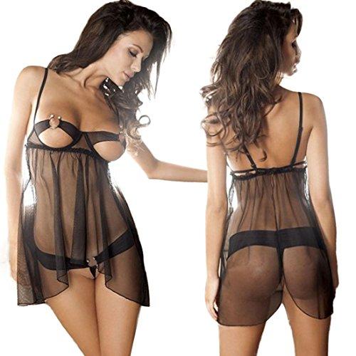 HP95(TM) Sexy Women Sleepwear,Lingerie Transparent Underwear+G-string Plus Size