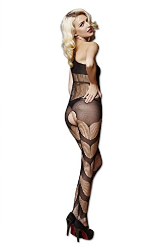 Moonight Women Black Net Open Crotch Bodystocking Hollow-Out Chemise Mini Tights Lingerie