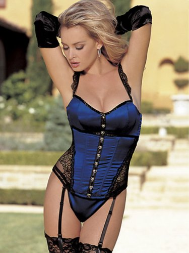 Shirley Women's Royal Blue Bustier G-String Sheer Black Lace Lingerie 2 Piece Se