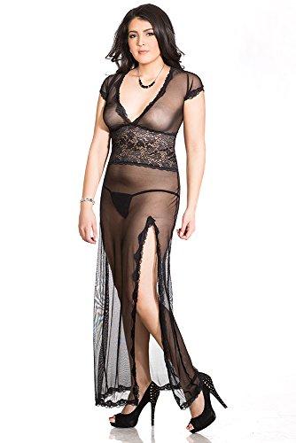 Coquette Women's Plus-Size Diva Mesh Vneck Gown