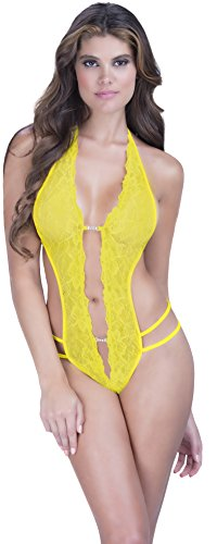 Crotchless Yellow Lace Teddy with Rhinestones Details Women's Lingerie O/S