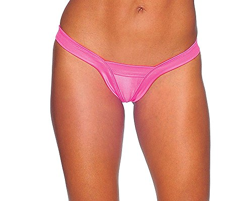 Sexy Neon Pink Comfort V Thong Panties. Pink. One Size. Made in USA.