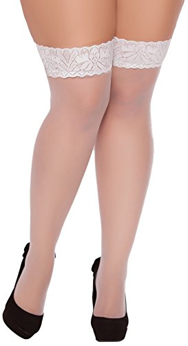 Seven Til Midnight Women's Plus-Size Sheer Lace Top Thigh High Stocking