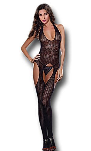 Moonight Women Exotic Sheer Black Fishnet Bodystocking Chemise Lingerie