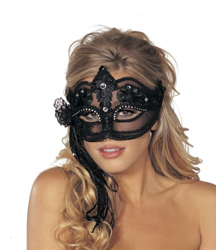 Shirley Of Hollywood  Adult Dramatic Lacy Mask With Streamers