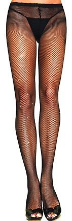 Lycra fishnet pantyhose with rhinestone detail throughout