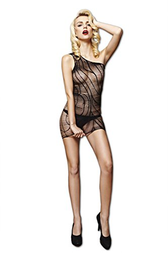 Moonight Women Fishnet Bodystocking One Shoulder Bodysuit Floral Lingerie Black