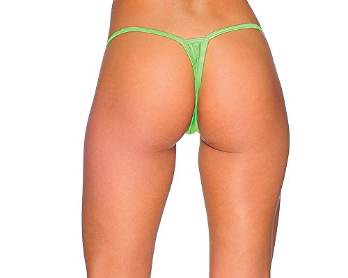 Cover Strap G-String Thong Panties. Neon Green. One Size. Made in USA.