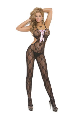 Elegant Moments Women's Crotchless Bow Tie Lace Bodystocking