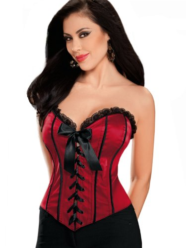 Women's Red Lace Up Corset Sweetheart Neckline Black Trim Valentine Lingerie Gif