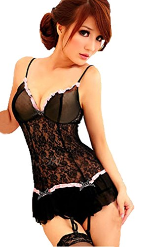 Women's Silicone Lace Top Thigh Highsexy Lace Babydoll Dress + Garters + G-string