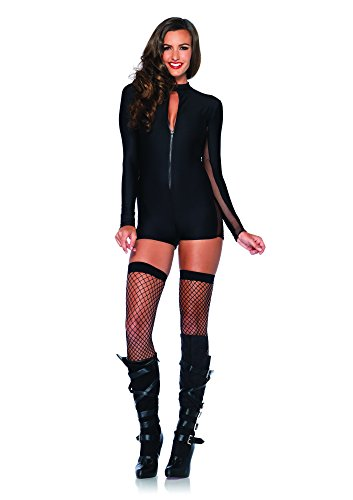 Leg Avenue Women's Zipper Front Romper with Sleeve and Side Sheer Panel