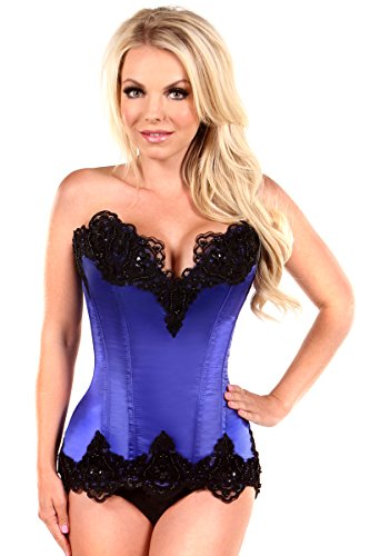 Daisy Corsets Women's Top Drawer Satin and Lace Beaded Steel Boned Corset
