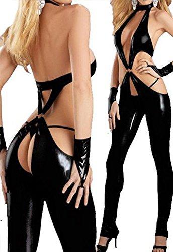 Sunset&Feminine Sexy Slim Lingerie Romper Dance Jump Suit Clubwear