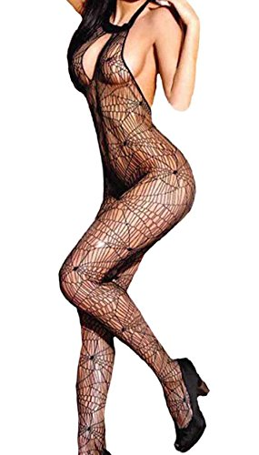 Sexy Mesh Fishnet Lingerie Net Sleeveless Open Crotch Body Stocking Black