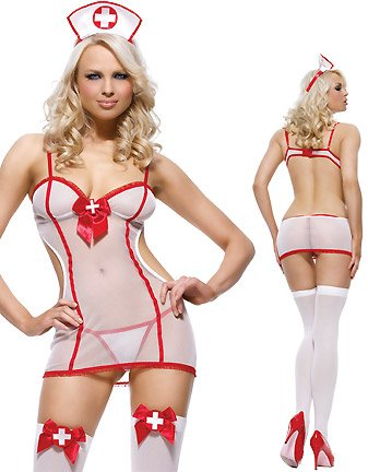 3pc. Nurse, includes sheer dress, g-string, and hat
