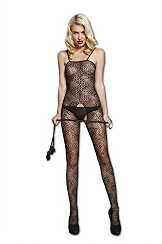 Moonight Women Black Fishnet Sweet Heart Bodystocking Bodysuit Lingerie Crotchless