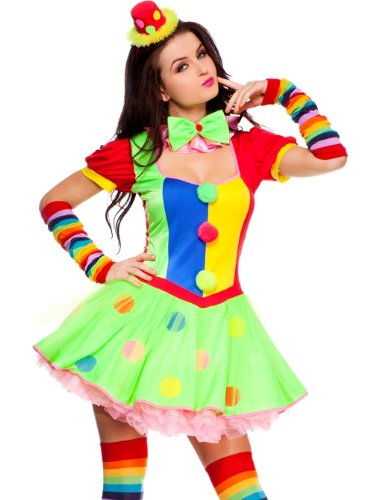 Womens Sexy Clown Circus Halloween Costume sz M/L 6-10