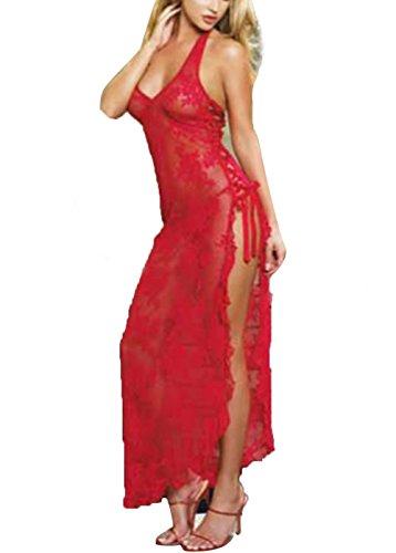 Sexy Women Red Sleepwear Lingerie Sheer Long Dress Babydoll Underwear G-string