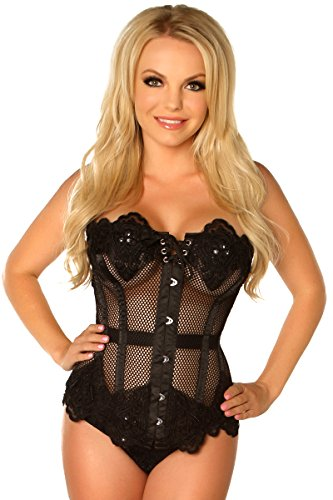 Daisy Corsets Women's Top Drawer Steel Boned Beaded and Lace Fishnet Corset