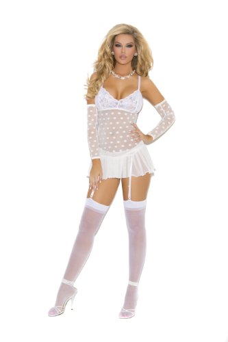 Elegant Moments Women's Mesh Baby Doll with Lace Cups and Matching G-String.